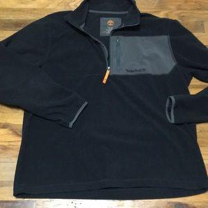 Timberlain men fleece Black gray pullover 1/4 zip